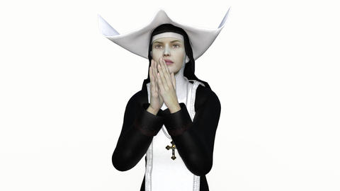 nun in prayer, animation, alpha channel Archivo