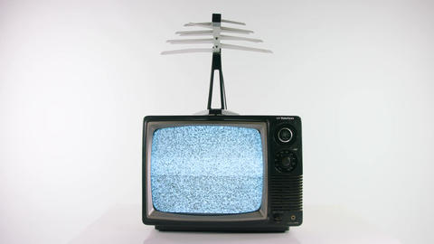 Static on an old fashioned TV with antenna Live Action