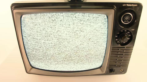Vintage television close upplaying static Footage