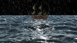 animation, pirate ship in the night ocean,rain, storm 애니메이션