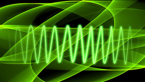 Abstract green background with moving transparent curves and radiant light green Animation
