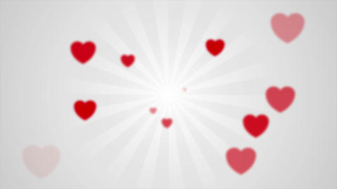 Abstract grey beams and red blurred hearts video animation Animation