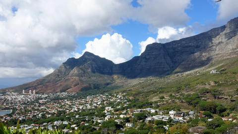 Clouds flowing around Table Mountain Cape Town Footage