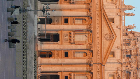 Vertical video. Piazza San Pietro, morning. Vatican, Rome, Italy Footage