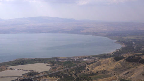 Looking down on the Sea of Galilee Footage