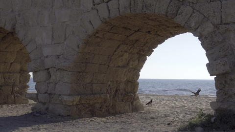 The ocean near Caesarea aqueduct Footage