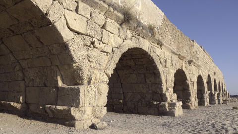 Aqueduct ruins along the coast of Caesarea Footage