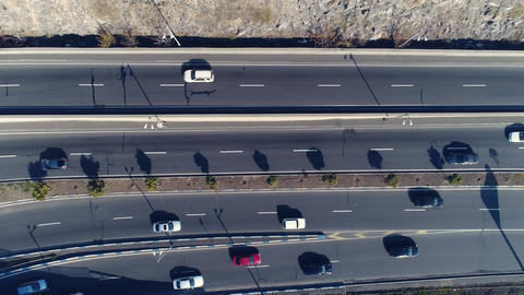 Aerial view of cityscape curve roads with cars Image