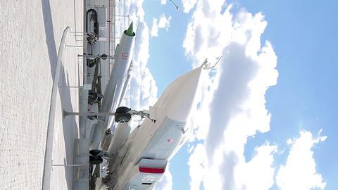 Vertical video. Military aviation. MiG-31. Pyshma, Ekaterinburg, Russia Footage