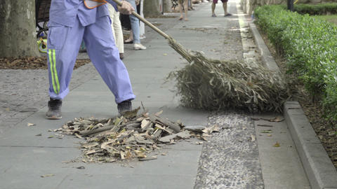 Street cleaner sweeps up leaves Live Action
