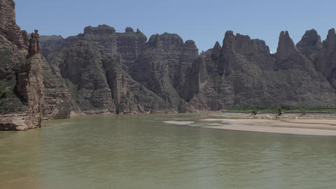 Chinese Boats On Yellow River In Gansu Province China Asia Footage