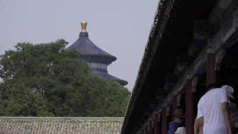 Visitors wait outside the Temple of Heaven Footage