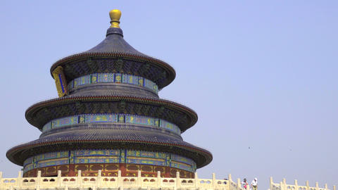 Tourists walking near the Temple of Heaven Footage