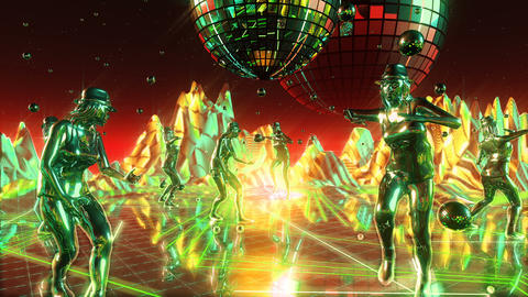 Beautiful girls dancing and moving on the neon dance planet. Loopable Animation
