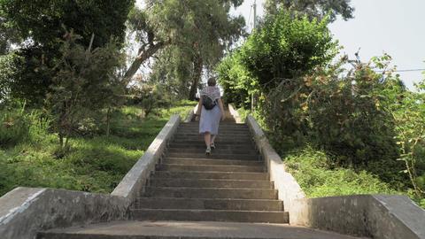 Young girl walking on stairs in tropical botanical garden. Batumi, Georgia Footage