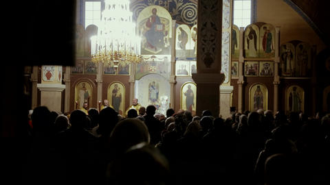 Many people pray in the church Footage