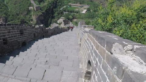 High speed view of walking down The Great Wall Live Action