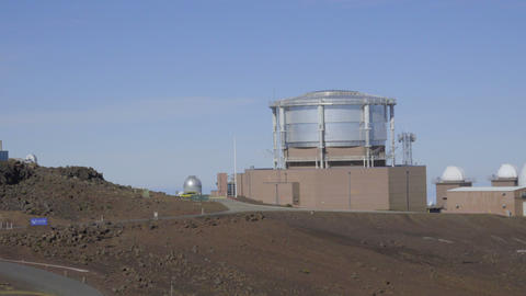 Close shot of the observatory on top of Maui Footage
