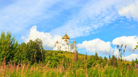 Belogorsky St. Nicholas Orthodox-Missionary Monastery. Russia, Perm Territory, Footage