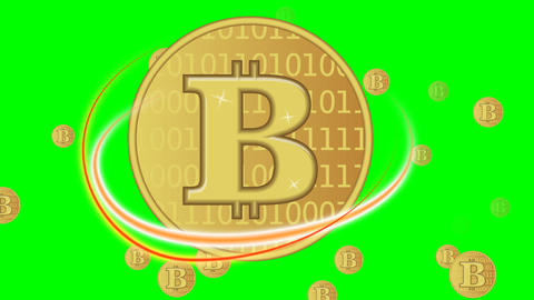 Bitcoin animation, golden cryptocurrency coin symbol, fiery fiery ellipses Animation