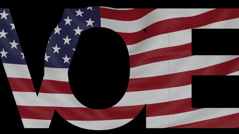 Vote' caption and waving American flag 4K intro animation Footage