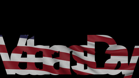 Veterans Day caption and waving American flag 4K intro animation Footage