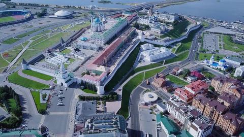 Panoramic view of the Kazan Kremlin. Kazan, Russia, From Dron Footage