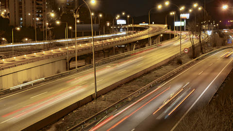 Highway Traffic Cars Driving Time Lapse at Multiple Lane Speedway Live Action