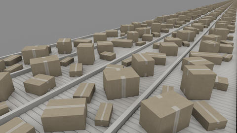 Various sized cartons moving on conveyors, perspective view. 4K seamless Footage