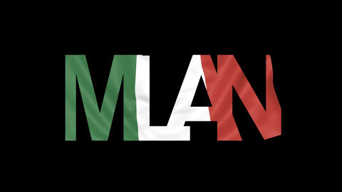 Milan caption and waving Italian flag 4K intro animation Live Action