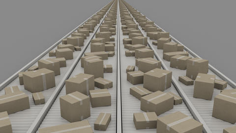 Boxes of different size moving on conveyers, symmetric perspective view. 4K Footage