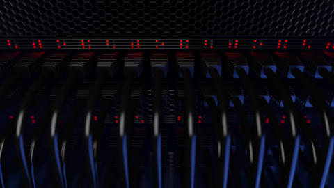 Servers, flashing red lights and connectors, dolly shot. Seamless loopable 4K Footage