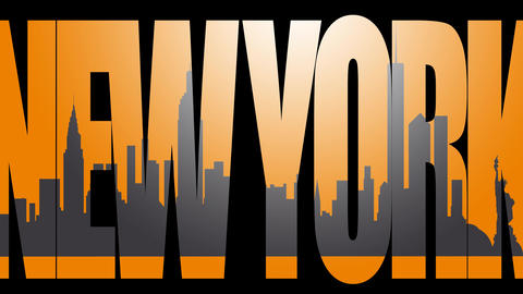 New York caption and New York skyline silhouette 4K animation. Orange background Footage