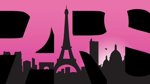 Paris caption and Paris landmarks silhouettes 4K animation. Pink background Footage