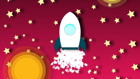 Animation of flying cartoon rocket with view from cosmos Photo