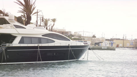 Yacht moored at Manoel Island Marina in Malta Footage