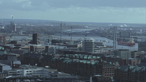 Warehouse district of Hamburg aerial view - HAMBURG, GERMANY DECEMBER 23, 2015 Footage
