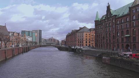 Hamburg Warehouse district at Hamburg harbor called Speicherstadt - HAMBURG, GER Footage