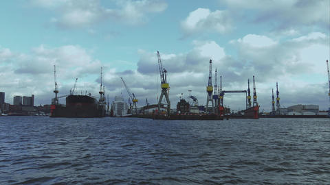 View over Port of Hamburg - HAMBURG, GERMANY DECEMBER 23, 2015 Footage