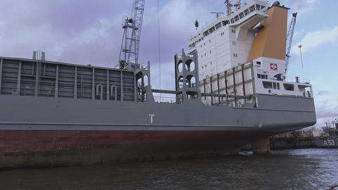 Big vessel at Port of Hamburg - HAMBURG, GERMANY DECEMBER 23, 2015 Footage