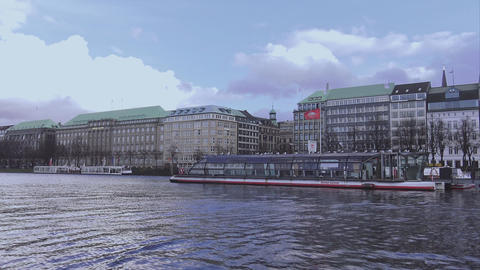 Binnenalster area in the city center of Hamburg - HAMBURG, GERMANY DECEMBER 23,  Footage