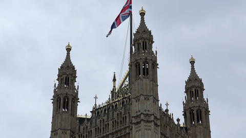 House of Parliament with British Flag Live Action