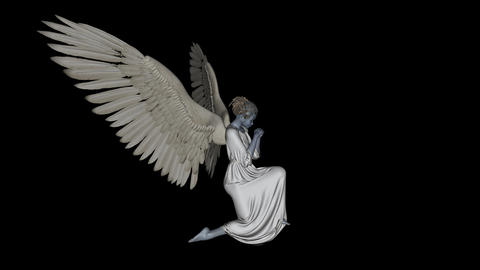 angel in a pose of prayer,alpha channel Animation
