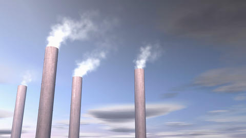 Factory smoke stacks, chemical release Animation