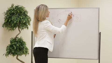 Smiling motivated female business trainer writing notes on a whiteboard Footage