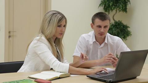 Sales manager talking to client, business presentation on laptop ภาพวิดีโอ