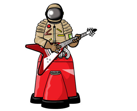 Robot Astronaut Guitar Solo Animation