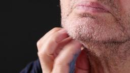 4K Old Man Scratching His Beard Footage
