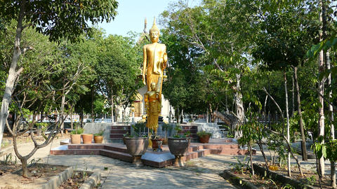 Golden Buddha statue at the park Footage