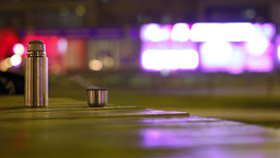 Hot Thermos In The Night City stock footage